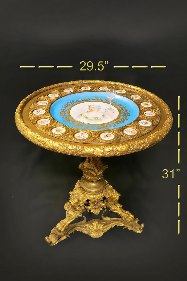 Very Fine French 19th C. Center Table W/ Sevres Plaques