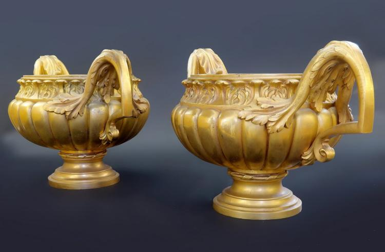 Very fine Pair of French 19th C. Gilt Bronze Vases