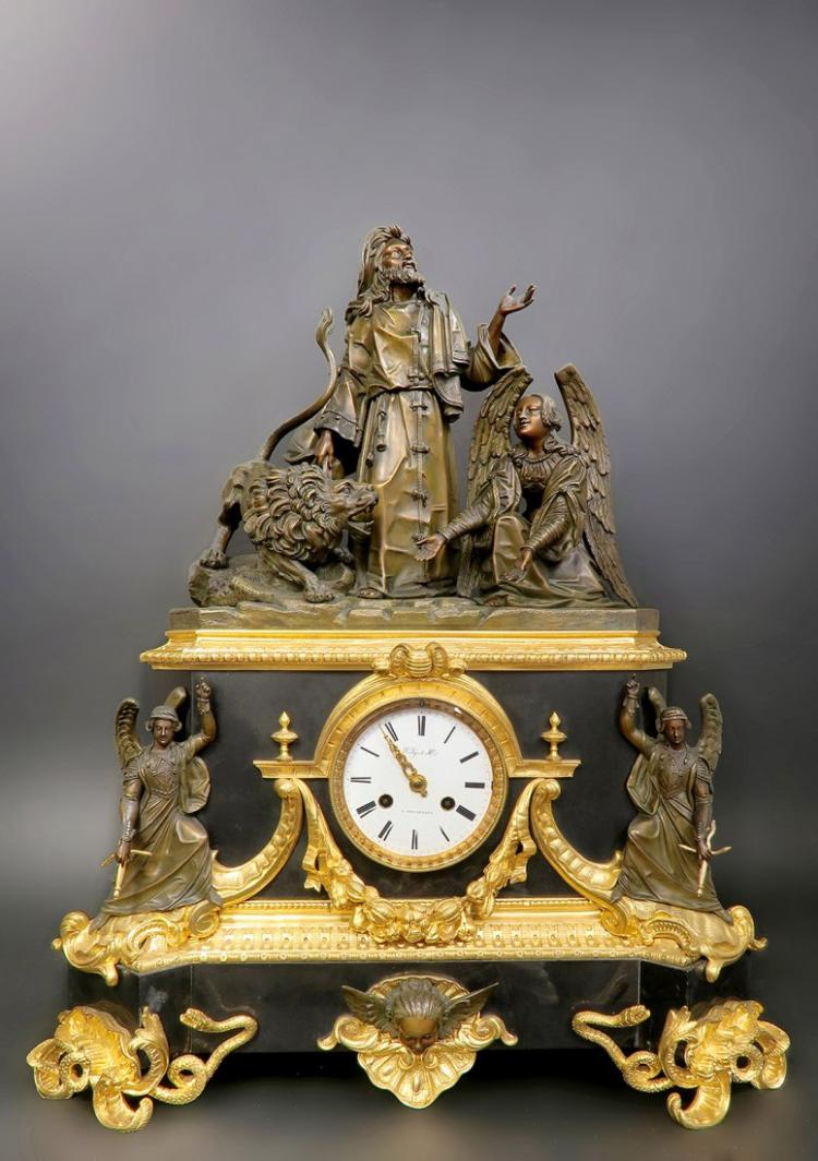 Monumental 18th C. French Empire Bronze Figural Clock