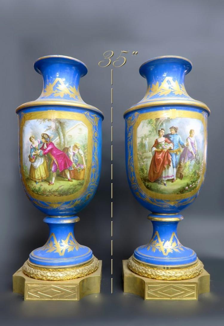 Monumental Pair of Bronze & Sevres Porcelain Vases