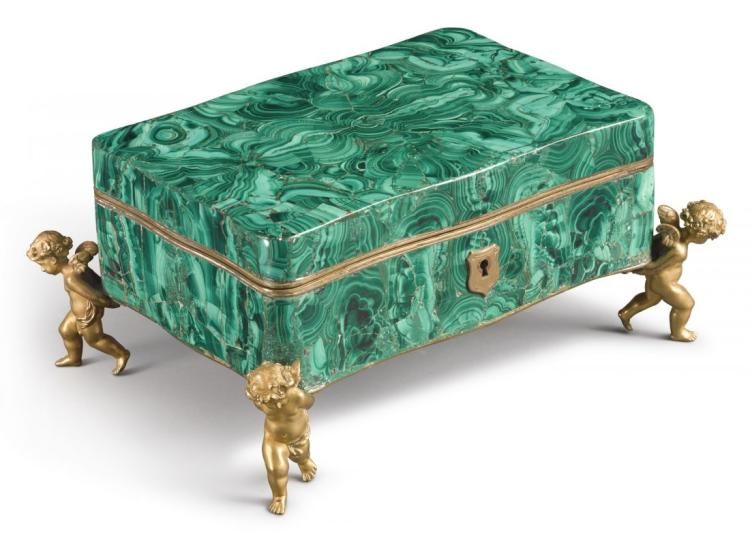 Large 19th Figural Malachite Jewelry Box (Alph. Giroux)