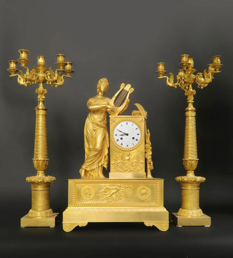 Monumental 18th C Empire Gilt Bronze Figural Clock Set