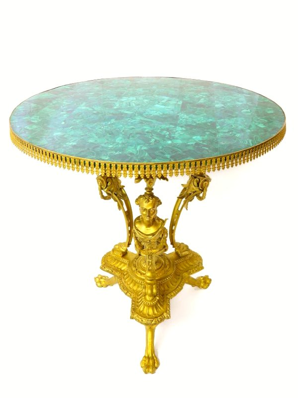 19th C. French Figural Bronze & Malachite Center Table