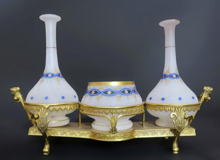 19th C. Bronze & Opaline Cruet Set