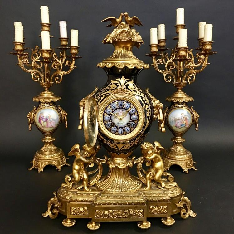 19C French Bronze/porcelain Clock Set with Garniture Ca