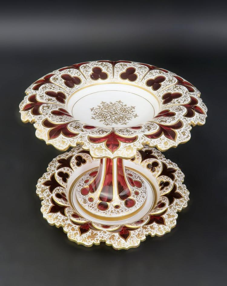 Exceptional 19th C. Diamond Cut Moser Centerpiece