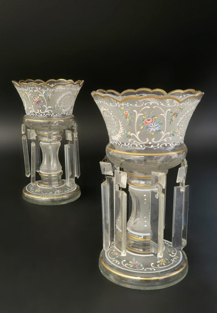 19th C. Bohemian/French Hand Painted Shades