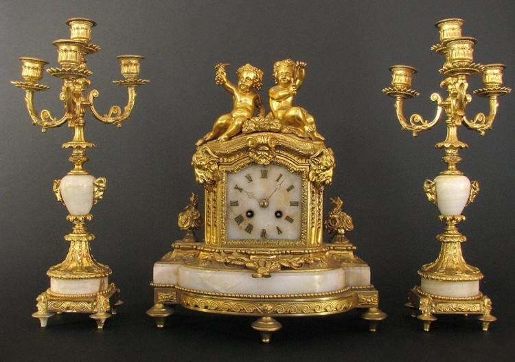 19th C. French Bronze & Marble Figural Clock Set19th C.