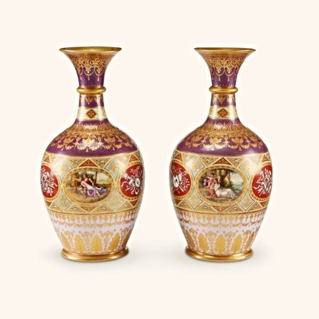 Pair of 19th C. Hand Painted Royal Vienna Jeweled Vases