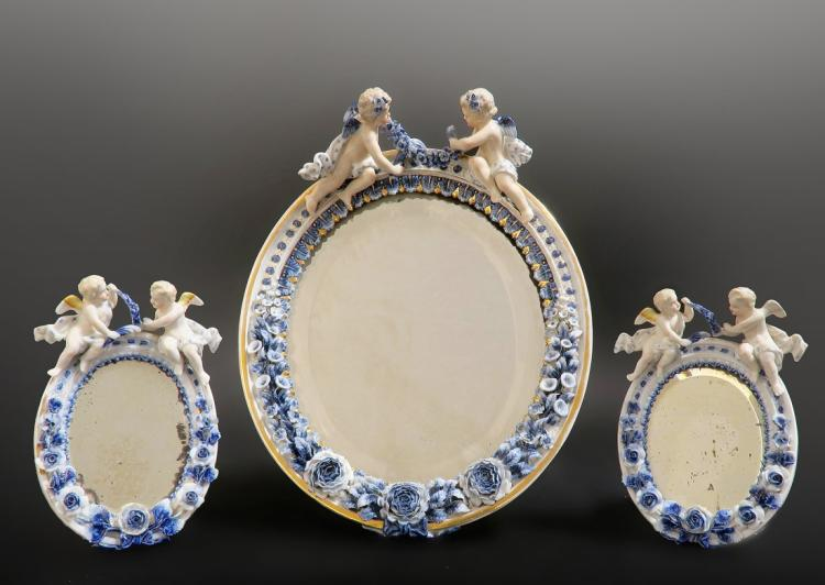 19th C. Set of 3 Meissen Style Figural Mirrors