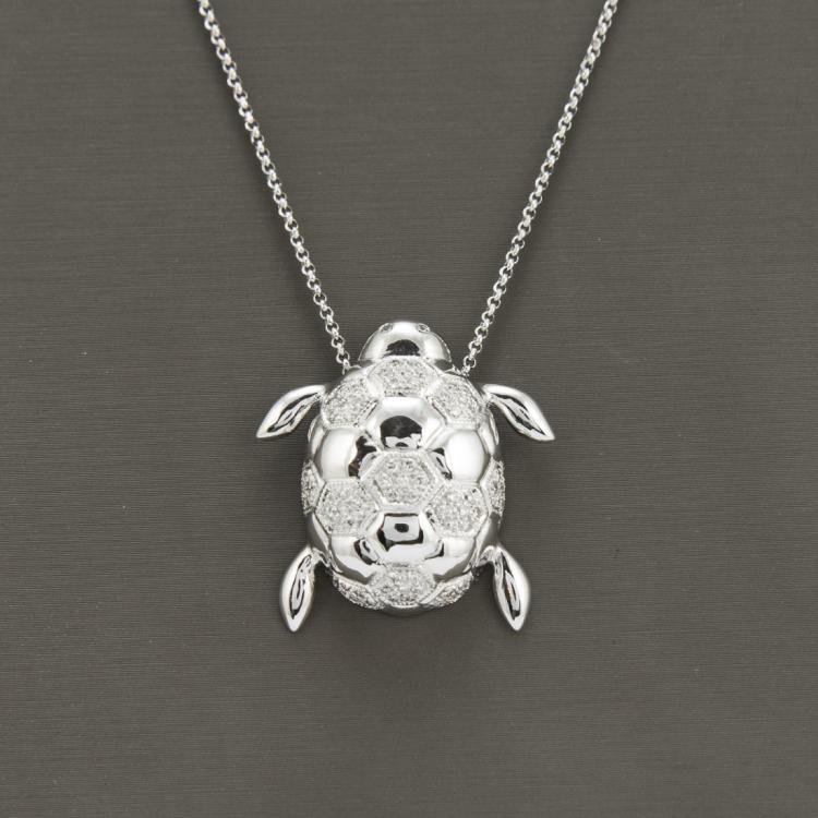 18K White Gold Necklace & Diamond=0.43 ct