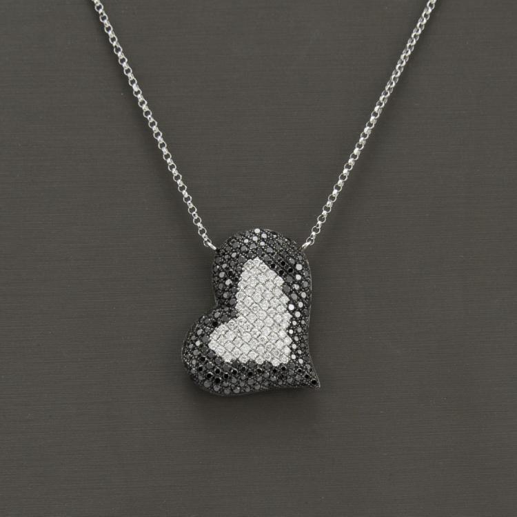 18K White Gold Necklace Heart Shape & Diamond