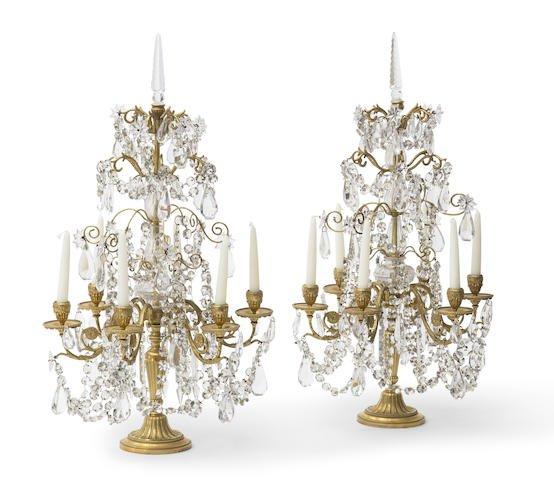 Pair of 19th C. Gilt Bronze & Glass 6 light Girandoles