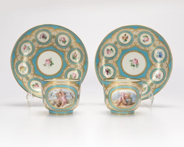 A pair of French Porcelain Teacups and Saucers