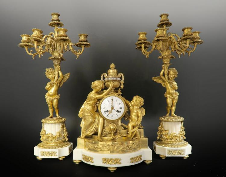 Large 19th C. Gilded Bronze & Marble Clock Garniture