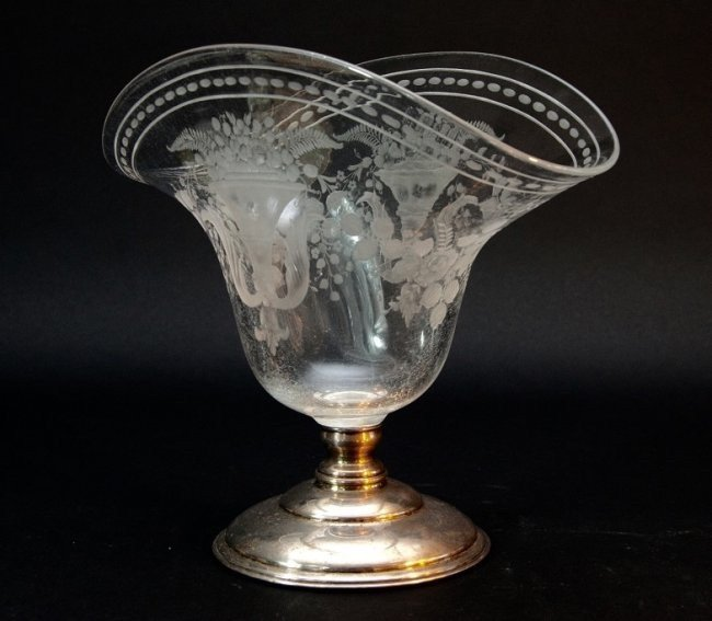 Etched Hawkes Glass and Sterling Silver Vase