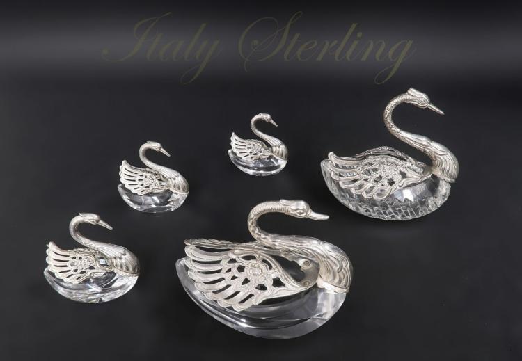 Italian Sterling Silver and Crystal Swan Salt Cellars
