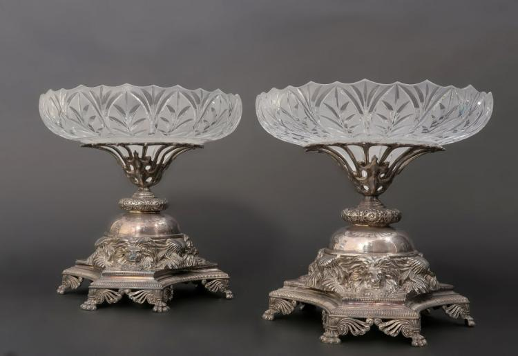 Pair of 19th C. English Silver Plated & Crystal Tazze