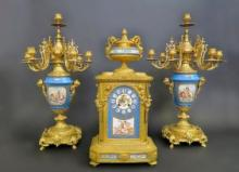 19th C. Monumental French Sevres Clock Set