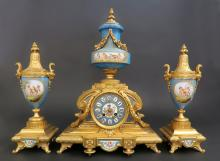 Magnificent French 19th C. Sevres Clock Set