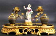 A Louis XV Style Ormolu & Porcelain Mounted Inkwell
