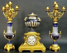 19th C. Cobalt Blue Sevres Style Jeweled Clock Set
