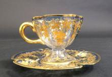 19th C. Bohemian Enamel Cup and Saucer