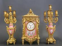 Magnificent 19th C. Pink Sevres Porcelain Clock Set