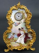 19th C. Viennese Enamel & Bronze Clock