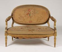 19TH C. L16 STYLE GILTWOOD NEEDLEPOINT SETTEE