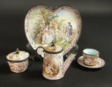 19th C. Viennese Enamel on Silver Miniature Tea Set