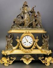 Monumental 18th C. French Empire Bronze Figural Clock