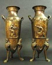 Large Pair 19th C. French Gilt & Patinated Bronze Urns