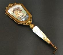 19th C. Viennese Bronze & Enamel Hand Mirror