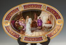 Fine Vienna Hand Painted Porcelain Oval Platter