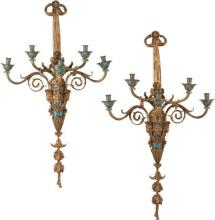 61159: A Large Pair of French Gilt Bronze and Champlevé
