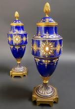 Pair of French Sevres Porcelain Jeweled Enameled Vases