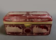 Large 19th C. Bohemian Ruby Glass Moser Jewelry Box