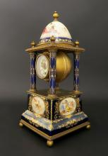 Hand Painted Bronze & Porcelain Royal Vienna Clock