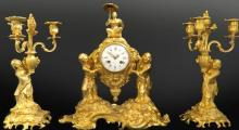 19th C. Very Fine French Bronze Chinoiserie Clock Set