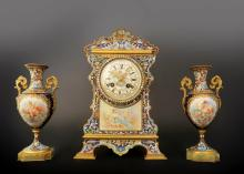 19th C. French Bronze & Champleve Enamel Clock Set