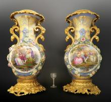 Monumental Pair of French Bronze & Porcelain Vases