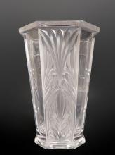 Large French Lalique Style Crystal Vase