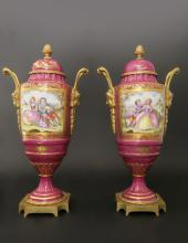 Pair of 19th C. Hand Painted Bronze Mounted Sevres Urns