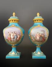 Pair of 19th C. Jeweled Bronze Mounted Sevres Urns