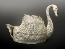 Large Antique Silver-plated Jeweled Swan Centerpiece