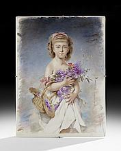 French Porcelain Plaque Depicting a Young Woman