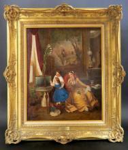 Charles E. Boutbonne The Aquarium Oil on Canvas