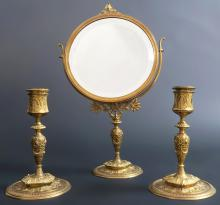 Bronze Travel Vanity Mirror & Candlestick by Barbedienne