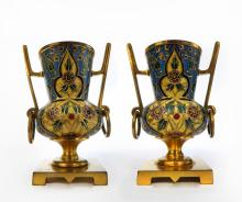 Pair of French Champleve & Bronze Urns by Barbedienne